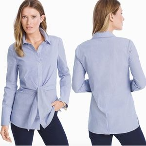WHBM Stripe Poplin Tie-front Shirt